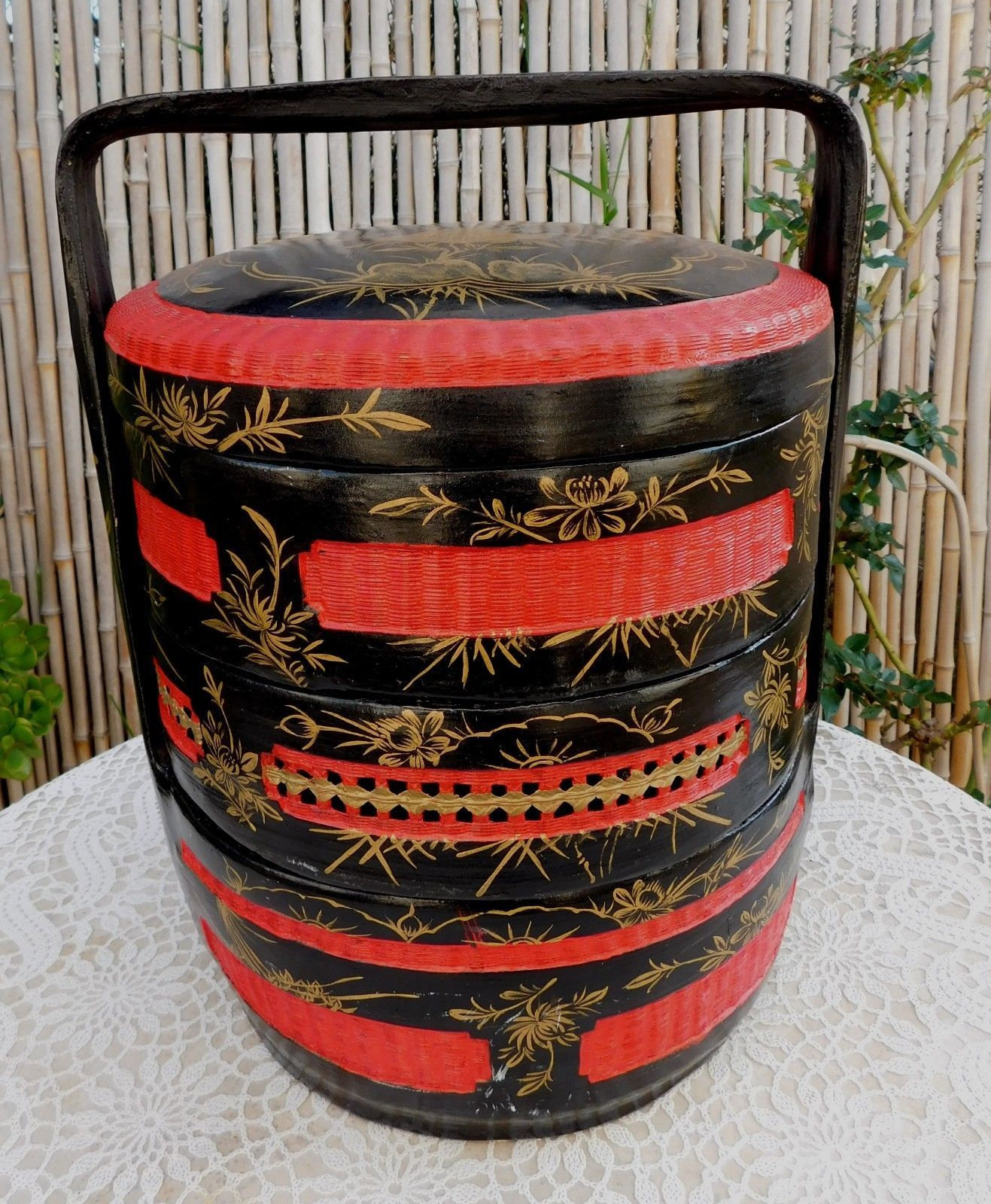 51bd2a25c Large Vintage Chinese Black Red Gold 3 Tier Staked Wedding Picnic Basket