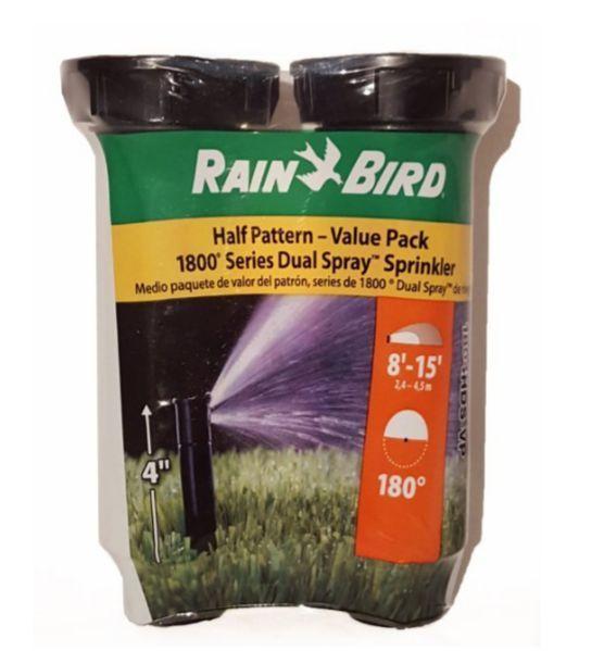 Pop Up Sprinkler Heads 2 Pack Rain Bird Half Pattern1800 Series 180 Degree