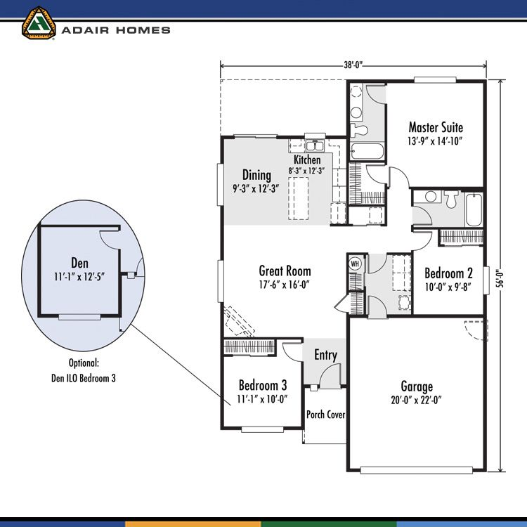 Adair homes plan 1405 128 645 arcadia east would need for Adair home plans