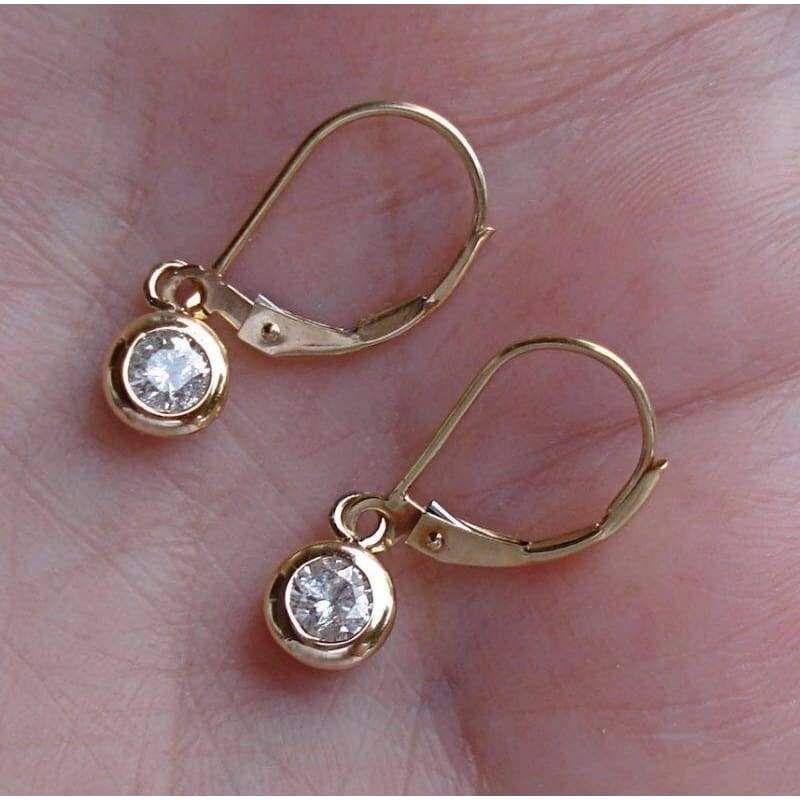 14K Solid Gold Red Ruby Heart Bezel Set Leverback Drop Dangle Earrings