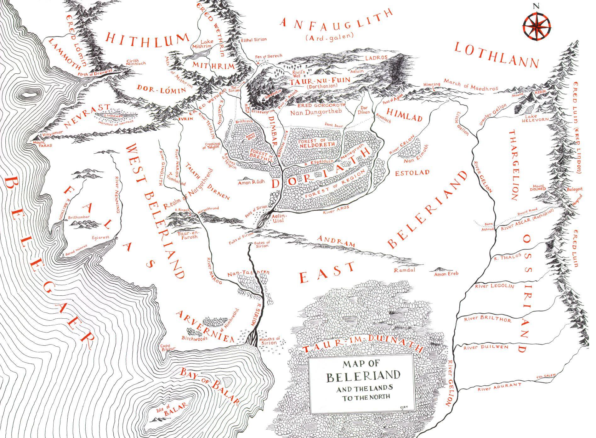 The Map Of Beleriand Tolkien Mittelerde