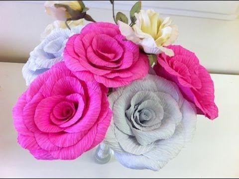 Tutorial Rose In Carta Crespa Youtube Diy Flores De Papel