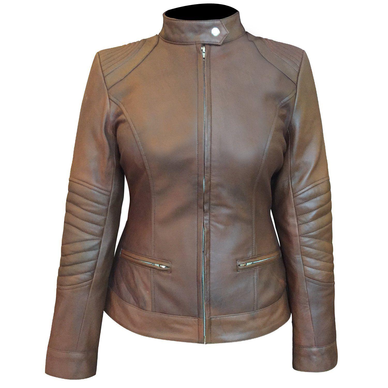 Women's New Cafe Racer Vintage Moto Style Biker Leather