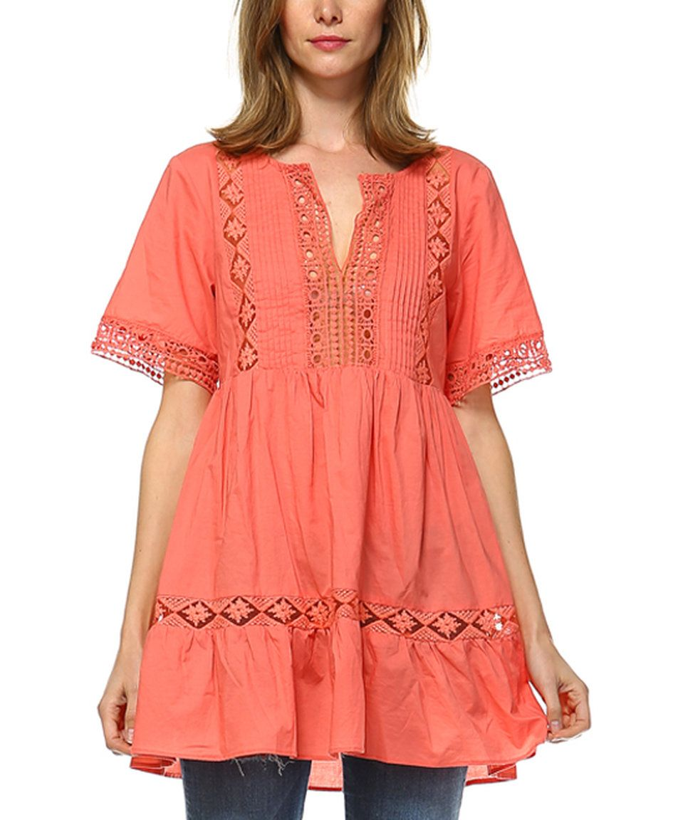 Take a look at this LeShop Coral Crochet-Accent Tunic today!
