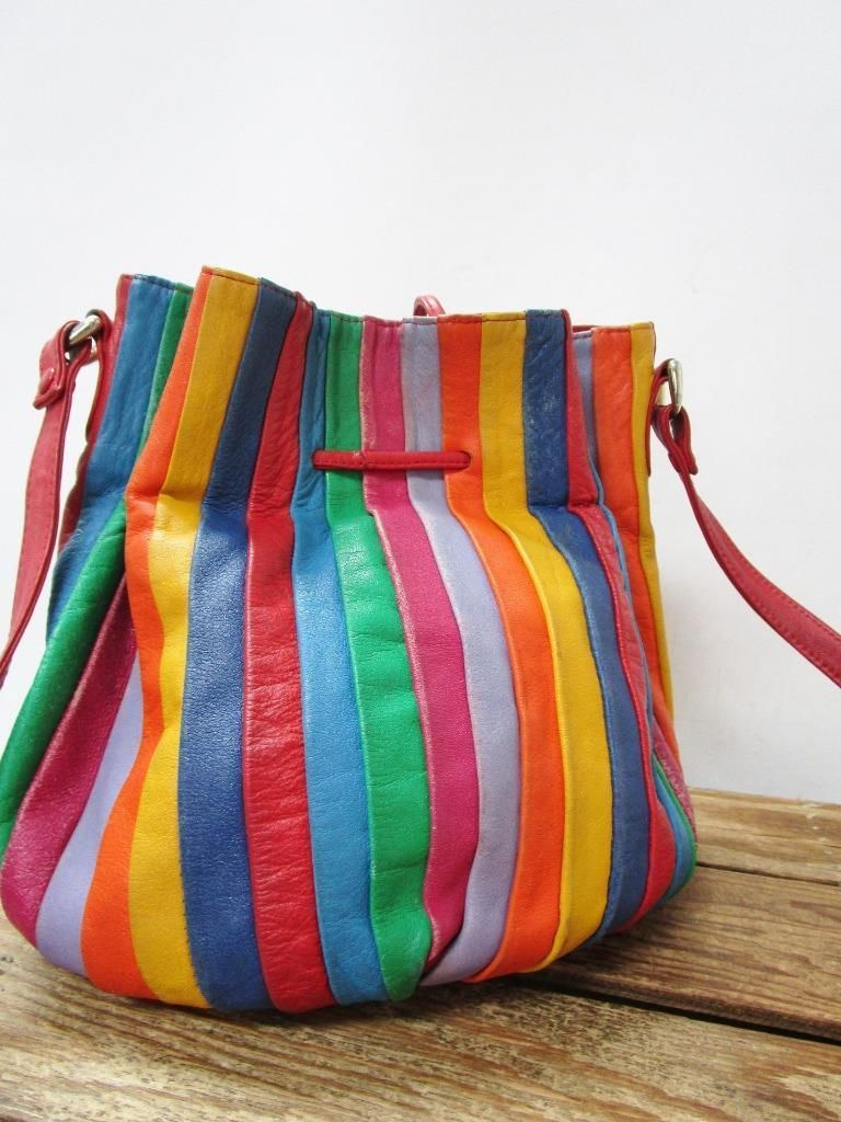 Brio Vintage 1980 S Colorful Rainbow Leather Drawstring Bucket Bag Coin Purse