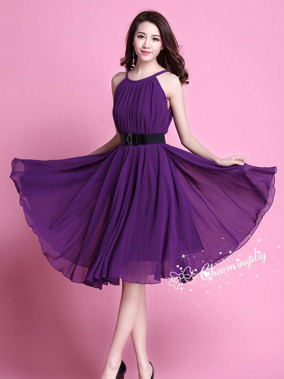 29 Colors Chiffon Dark Purple Knee Skirt Party By Charmingdiy Dresses Bridesmaid Skirts