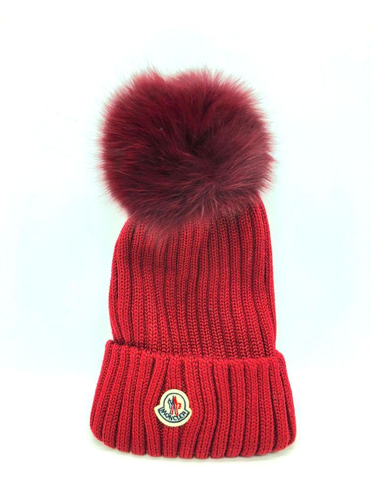 Moncler Ribbed Knit Beanie Hat W Fur Pompom Color Wine Fashion Clothing Shoes Accessories Womensaccessories Hats Knit Beanie Hat Knit Beanie Beanie Hats