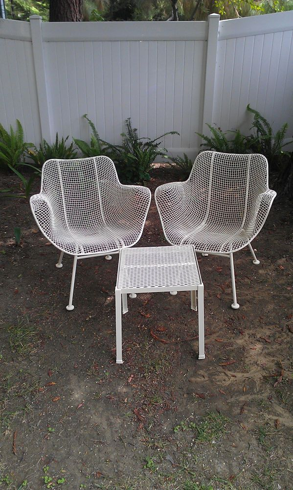 Russell Woodard Sculptura Wire Mesh Vintage Patio Arm Chairs Two Mid Century