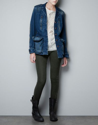 COMBINED LEATHER AND DENIM PARKA - Coats - Woman - ZARA Philippines