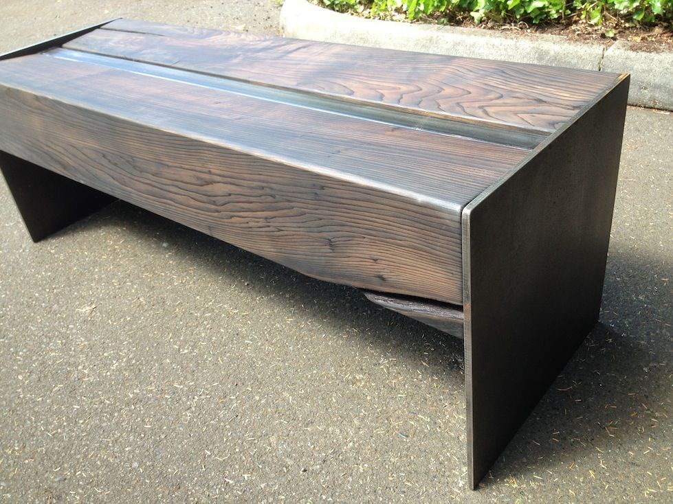 Outdoor Bench Cedar Beams Iron Acetate Finish And Plate