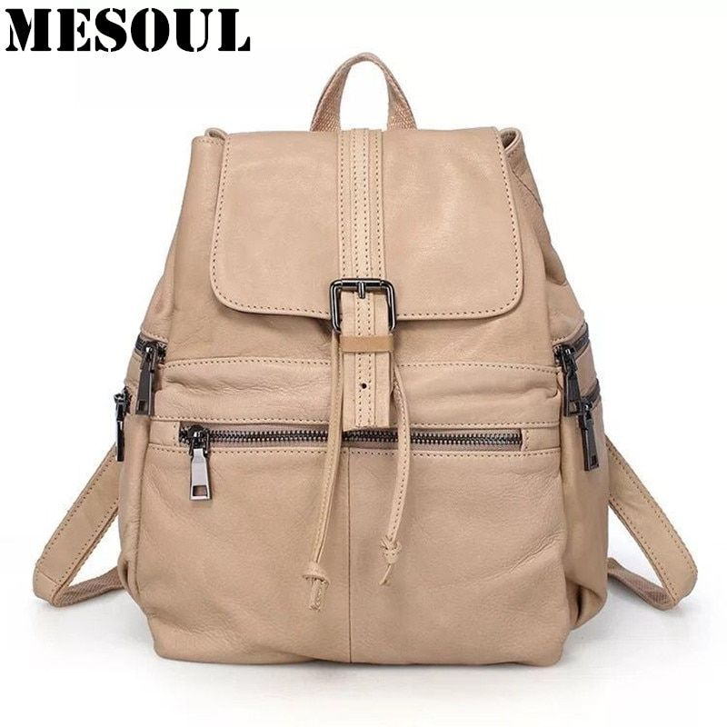 00eba51cd78 Casual Backpack Women Genuine Leather Backpack For Girls School Bags  Mochila High Quality Cow Leather Travel Shoulder Bag Female Review
