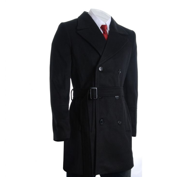Mens Winter Double Breasted Pea Coat Long Jacket (CT122 ...