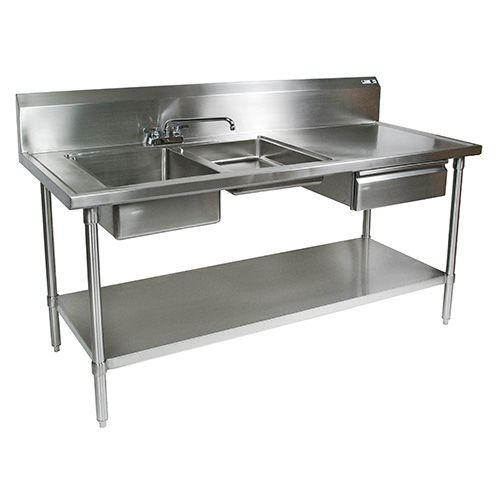 Stainless Steel Prep Table 72 Wx30 D 2 Sinks Utensil Drawer And