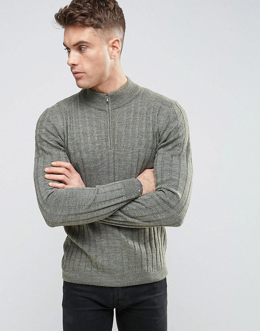 Shop ASOS Cable and Rib Mix Sweater with Zip Turtleneck in Wool Mix at ASOS.