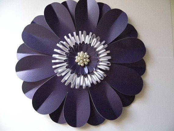 40cm giant paper flower in navy blue with pearl and diamante
