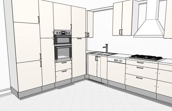 L shaped kitchen with one wall using full height cabinets - 3D ...