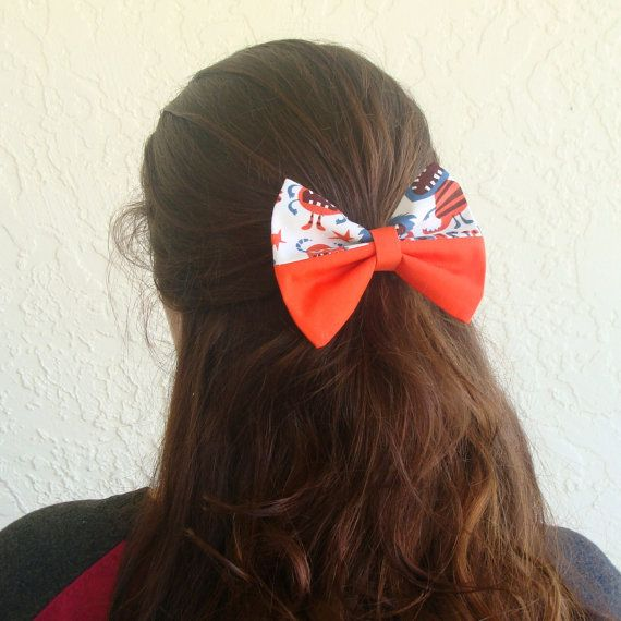 Hair Bow Monsters over Solid Orange Hair Bow with by Lorettajos, $7.50