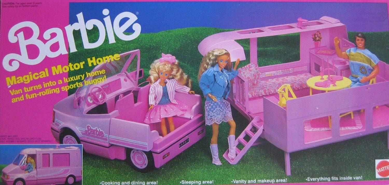 80s car toys  Amazon Barbie Magical MOTOR HOME Vehicle MOTORHOME Van Becomes