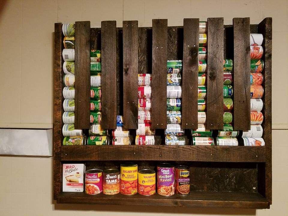 Canned goods pallet rack pallet diy pallet pantry