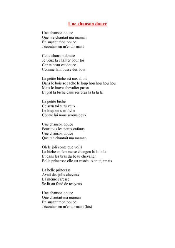 Une Chanson Douce Paroles Pdf : chanson, douce, paroles, Imprimer, Chanson, Douce