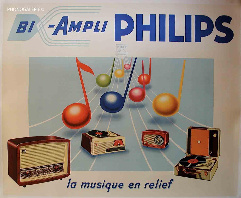 affiche originale de l 39 affiche publicitaire bi ampli philips la musique en relief. Black Bedroom Furniture Sets. Home Design Ideas