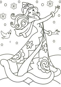 раскраска волшебница зима скачать и распечатать раскраску