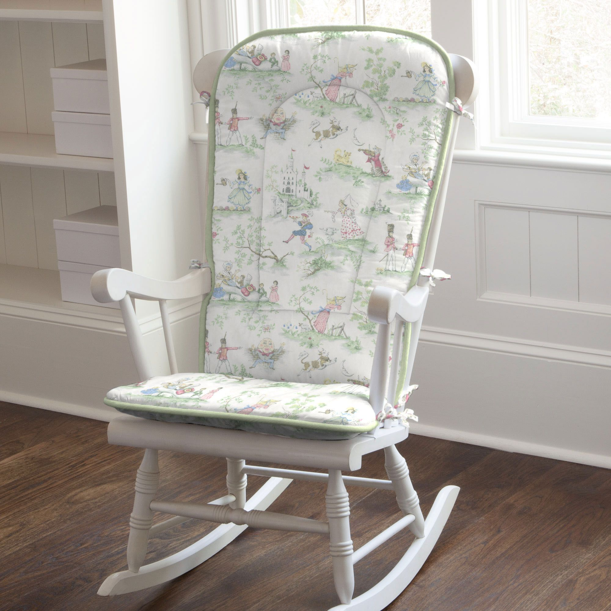 Rocking Chair Cushion In Nursery Rhyme Toile Sage By Carousel Designs Slip These Comfy Pads