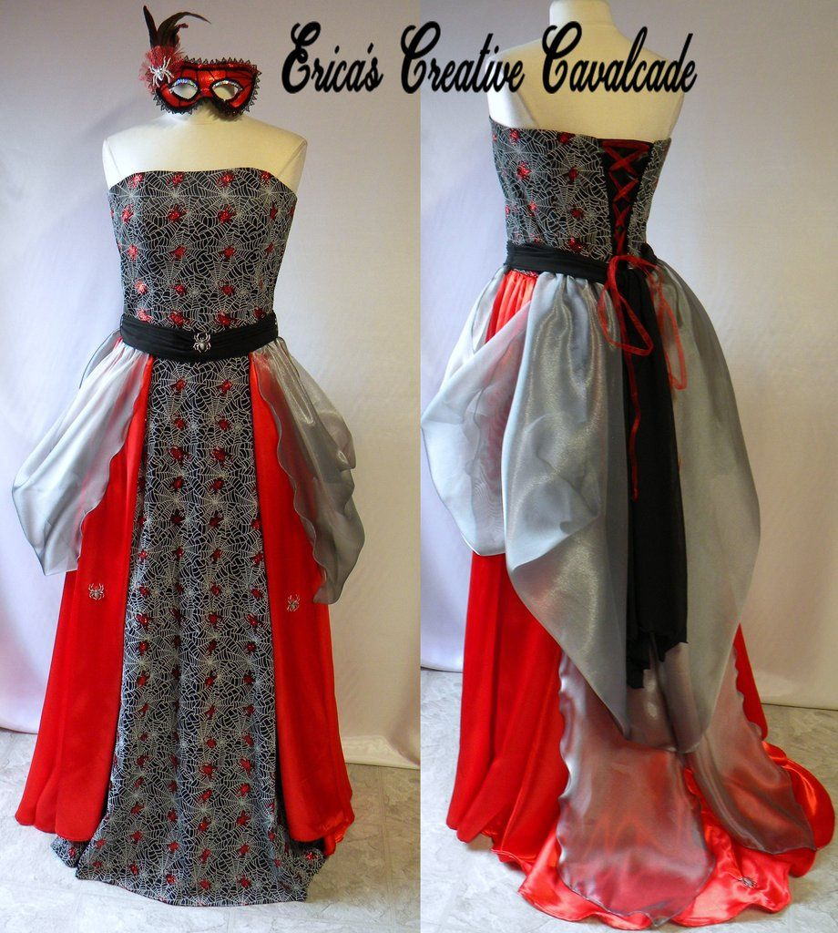 Nice Christmas Party Dresses: Gothic Girl Glitter Cobwebs And Spiders Masquerade