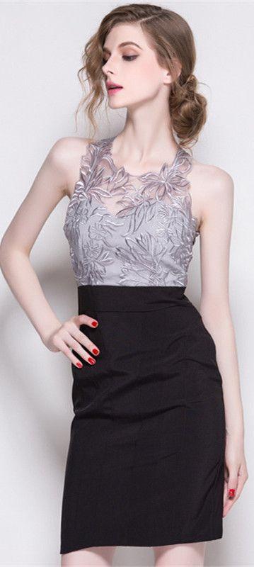 afa9082d4746 Silver Sleeveless Embroidered Dress