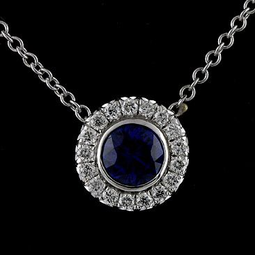 Diamond sapphire modern 14k white gold charm pendant necklace diamond sapphire modern 14k white gold charm pendant necklace aloadofball Image collections