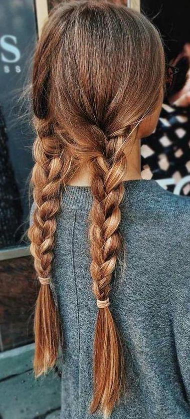 wonderful double braids on long brown hair  pigtail