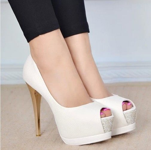 $61.79 Dresswe.com SUPPLIES Plain White Peep-Toe Platform High Heel Prom  Shoes
