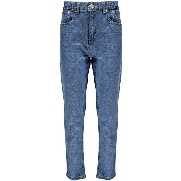 Boohoo Zoe High Waisted Vintage Slim Leg Mom Jeans ($44) ❤ liked on Polyvore featuring jeans, blue high waisted jeans, highwaist jeans, highwaisted jeans, vintage jeans and slim straight leg jeans