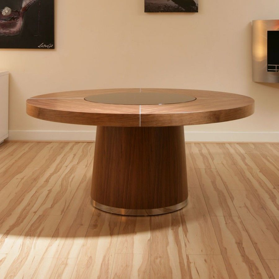 Large Round Walnut Dining Table Glass Lazy Susan Led Lighting 1 4m