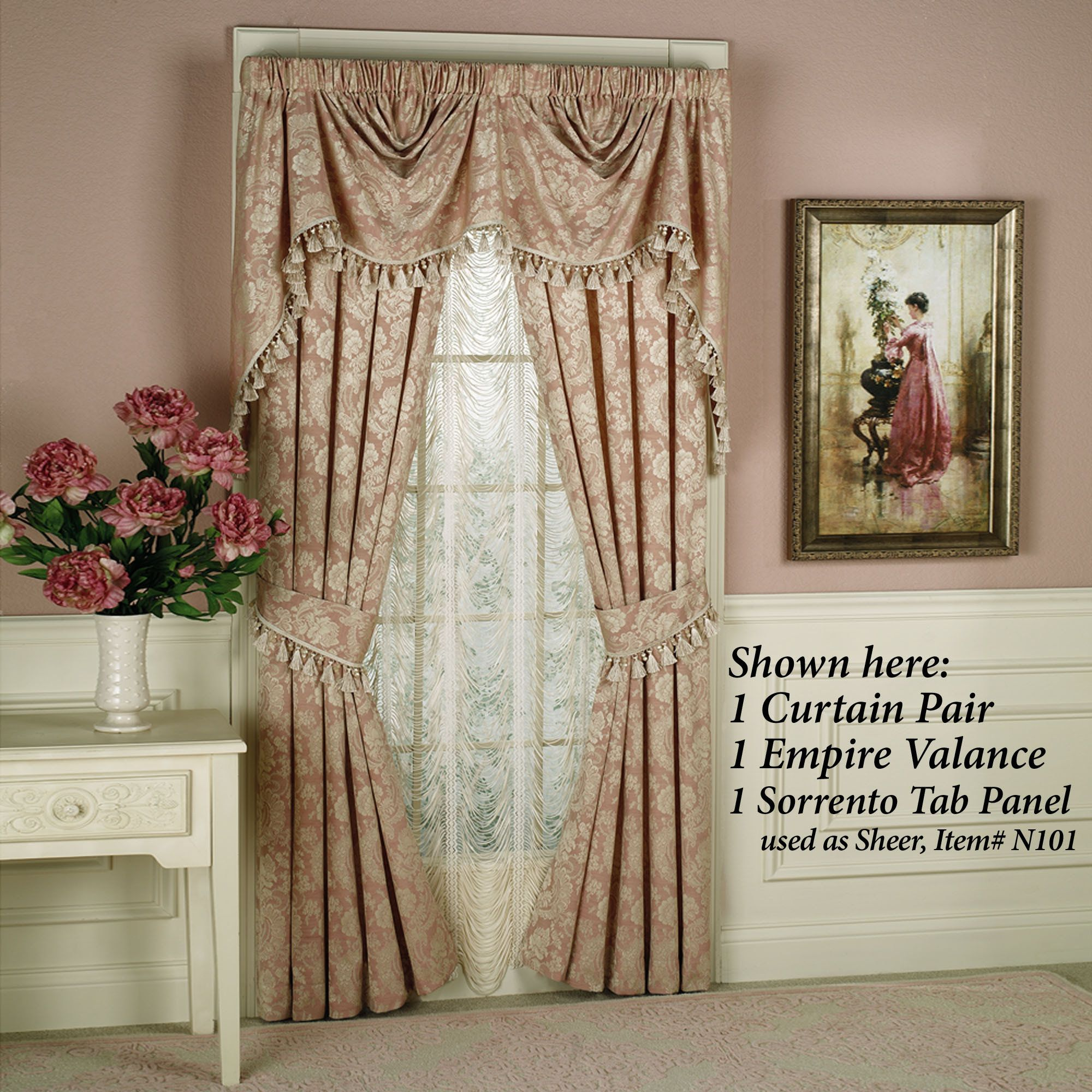 Bed against window with curtains  chantilly rose window treatments  rose window window and rose