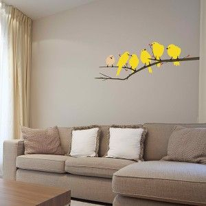 Yellow Birds Wall Decal This Wall Decal Shows A Row Of Yellow - Yellow bird wall decals