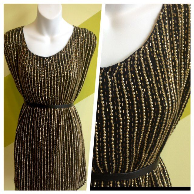 TOPSHOP Black with gold beading 1980s inspired tunic dress. Available in size S-L $15