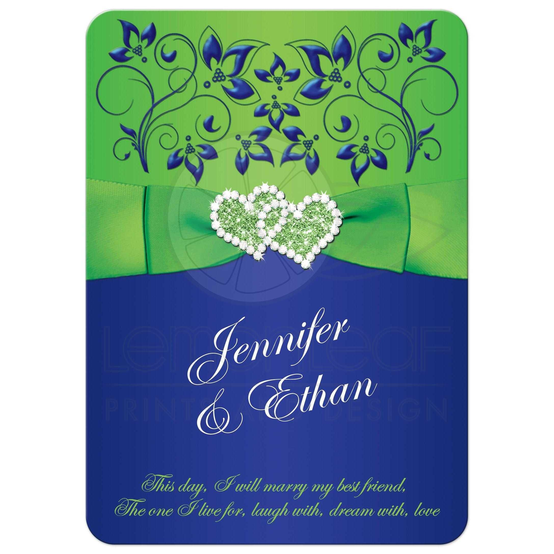 Royal or cobalt blue, lime green and white wedding invitation with  chartreuse ribbon, glitter