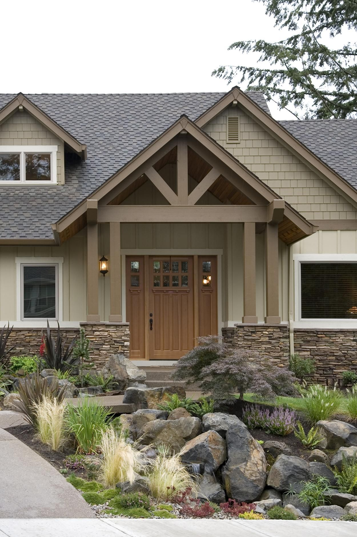 Rugged Craftsman Ranch Home Plan with Angled Garage