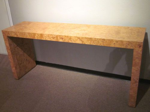 Milo Baughman Style Burled Wood Parsons Console Table