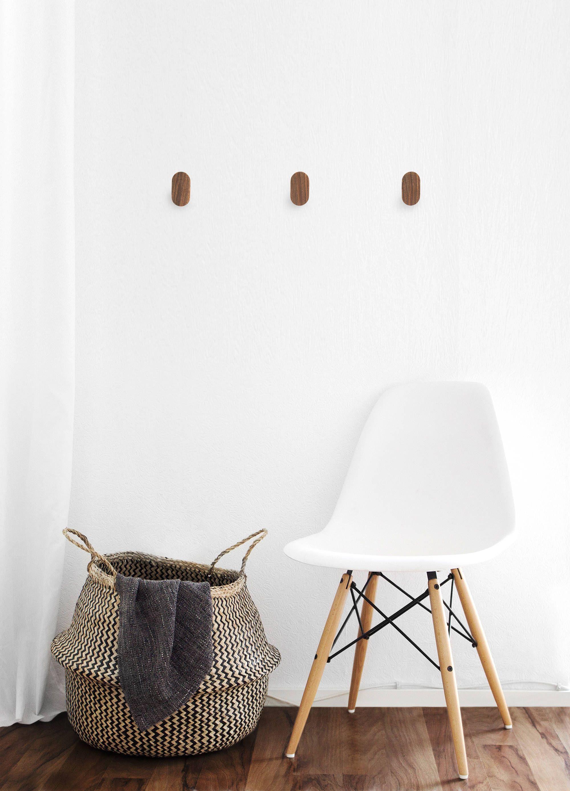 Walnut Wall Hooks Modern Minimal Wooden Decor Hallway Entryway Bedroom Bathrom Kitchen Coat Hook