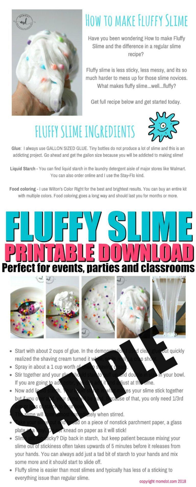 Fluffy slime free printable fluffy slime recipe making
