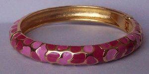 Hot Pink Fuschia Magenta Animal Print Gold Tone Bangle Bracelet