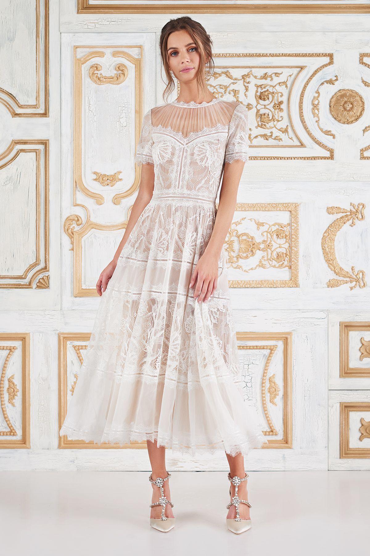 Camilla Tea-Length Dress l Tadashi Shoji | Wedding idea <3 ...