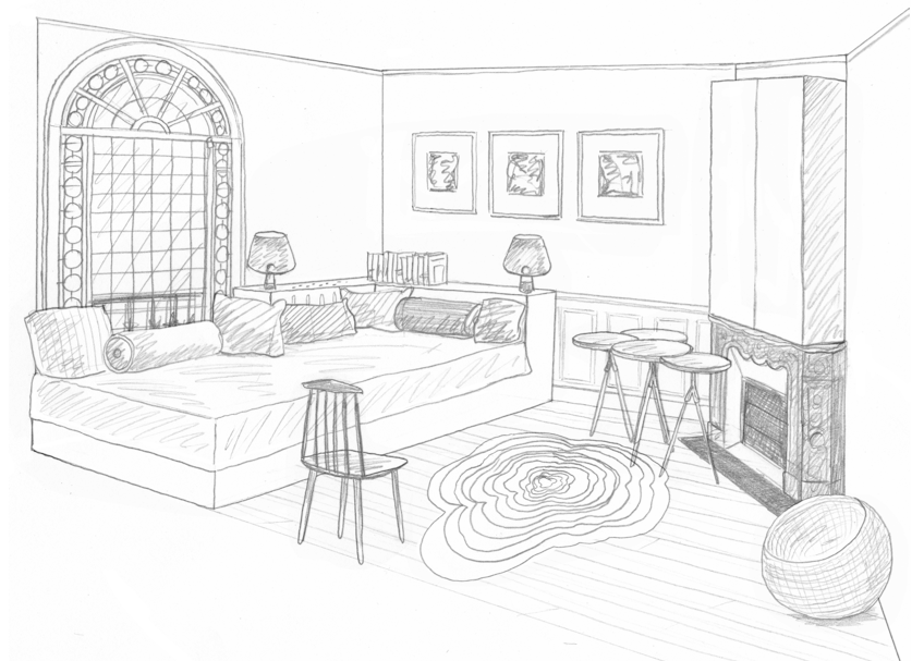Dessin chambre d\'appoint RDC | INTERIOR PERSPECTIVE DRAWINGS ...