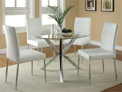 41 Erika Modern Round Glass Table W White Chairs Glass Round Dining Table Glass Dining Room Table Modern Kitchen Tables