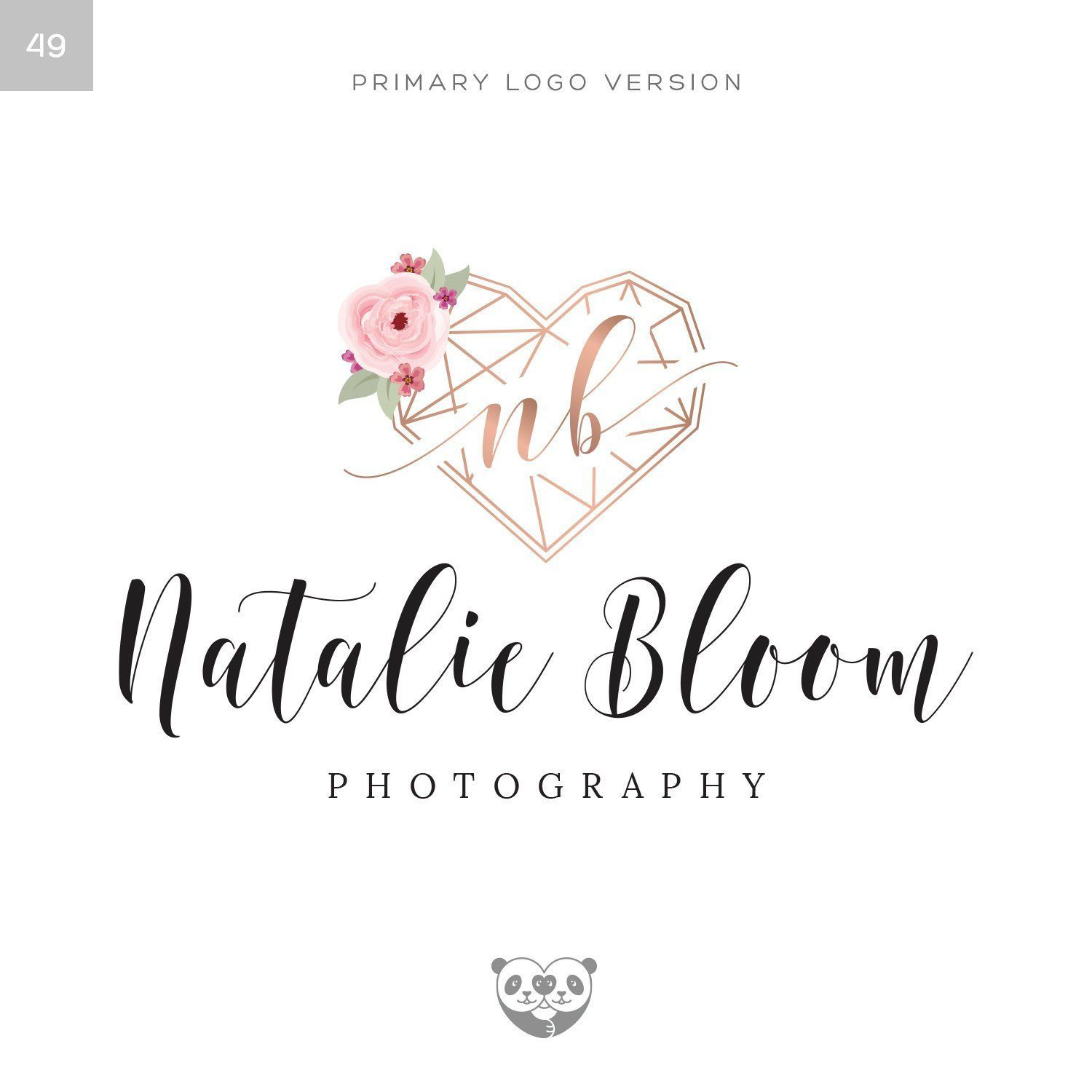 Rose Gold Geometric Heart Logo Photography Logo Floral Watercolor