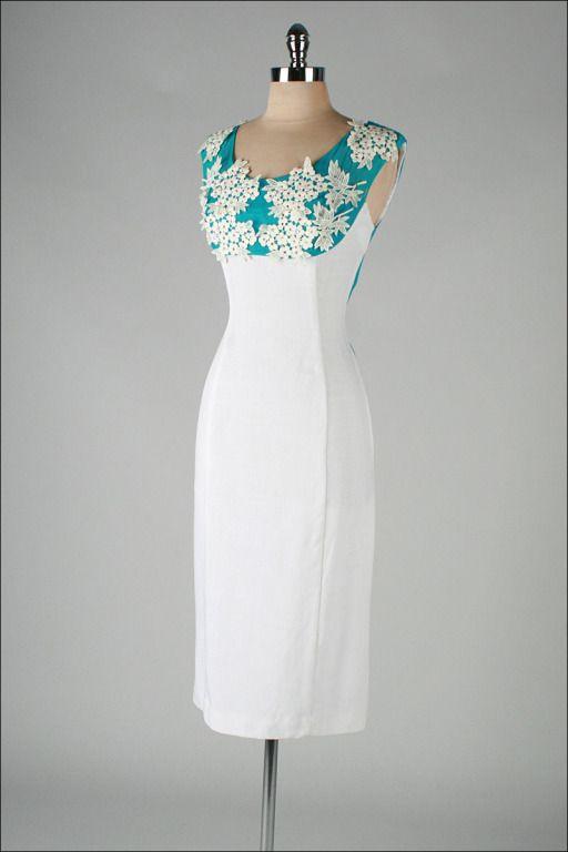 456047f4740 Vintage 1950 s White Turquoise Linen Macrame Lace Cocktail Dress ...