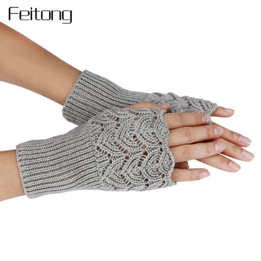 Soft Mitten Hot Girls Knitted Fashion New Warmer Wrist Hand Gloves Fingerless