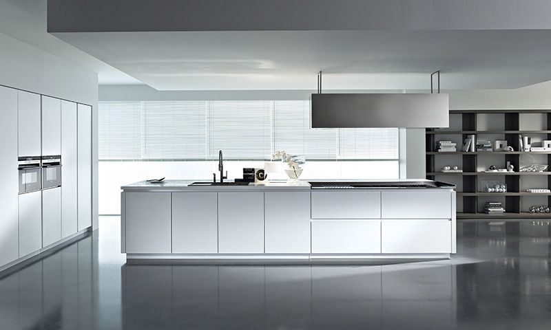pedini dune: textured white lacquer, corian glacier counter top